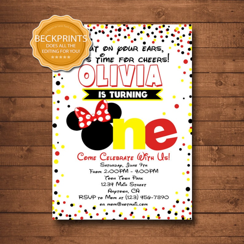 Minnie Mouse Invitations Mickey Birthday Invitation