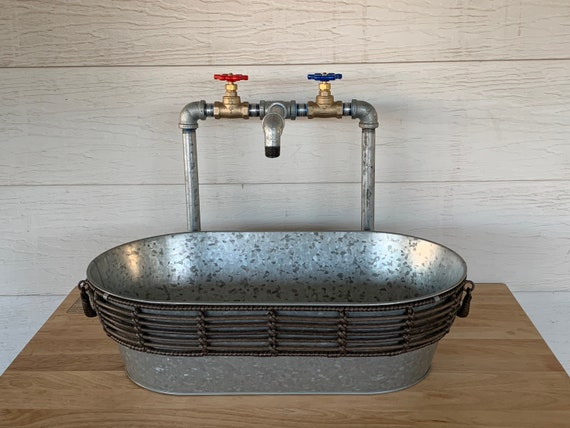 Industrial Galvanized Faucet With Oval Galvanized Sink Etsy