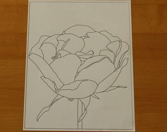 Hand Drawn Rose Coloring Page for Adults Instant Download