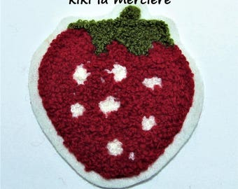 patch, applique, Terry red Strawberry patch sew