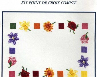 Flower kit dmc composition flower counted cross stitch
