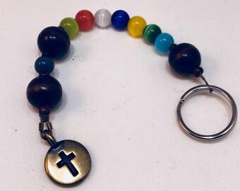 Protestant Prayer Beads - Keychain size (1/4 size strand) Anglican / Christian Prayer Beads - Protestant /  Episcopal / Tierracast cross