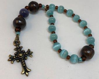 Protestant Prayer Beads - Chaplet size (1/2 size strand) Anglican / Christian Prayer Beads - Protestant cross Episcopal cross Methodist