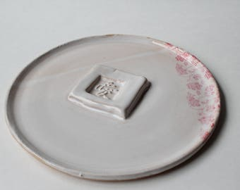 Handmade Ceramic Plate with Symbol Centerpiece & Floral Decal