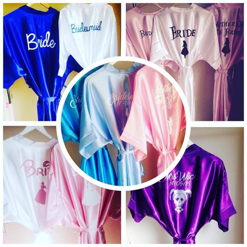 Personalised Satin Robes Wedding Bridal Party Bride To Be Etsy