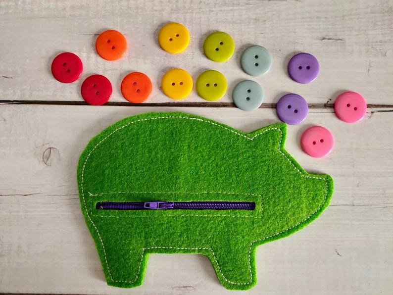 Fine motor game Learning game Montessori inspiration Sensory bin! Button Piggy Bank