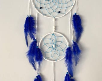 Dream catcher white with blue feathers / white & blue Dreamcatcher