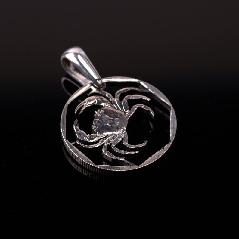 Malta 5 Cents Cut Coin Pendant with Necklace Maltese freshwater crab