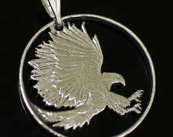 Philipines Eagle Coin Pendant & Necklace.Hand cut Coin 50centimos 1984 year.