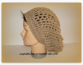Chapeau Bonnet d hiver beige bonnet femme bonnet retombant Slouchy  bonnet  en laine bonnet rasta  Rasta Femme fait main au Crochet 829e81e6cc8