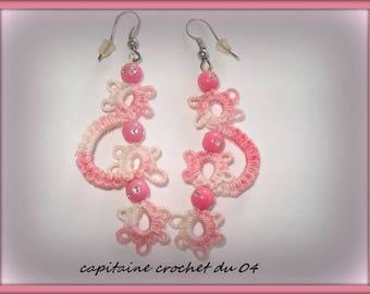 Earrings, woman, girl, pink earrings/earrings/jewelry lace tatting/so/made in France
