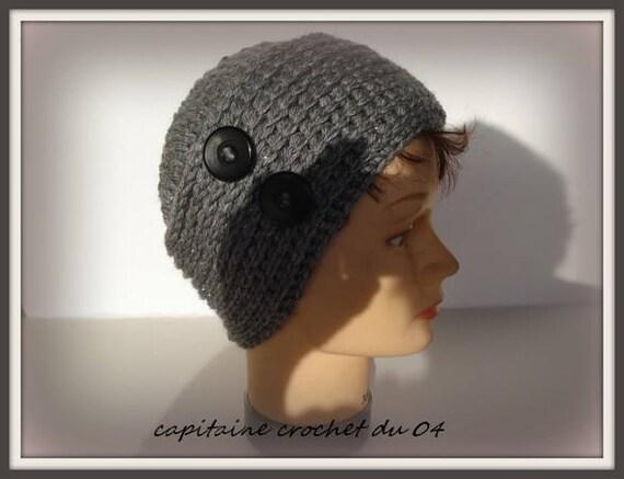 bonnet gris bonnet en laine bonnet femme toque chapeau femme fait main au  crochet ,modèle unique c8971e2e9f9