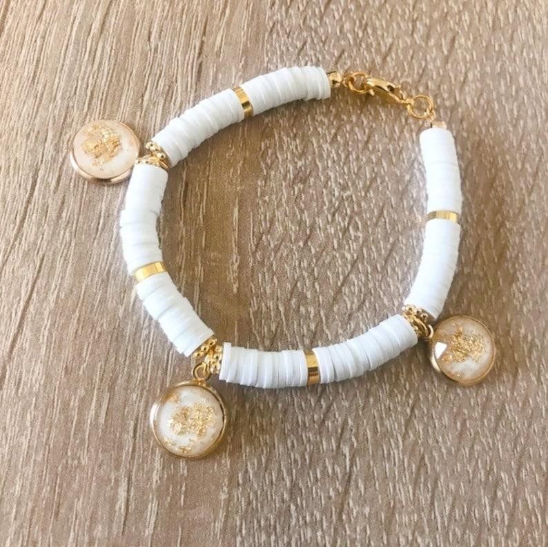 charms cabochons. Heishi bracelet washers beigebrownwhitecoralor blue and gold