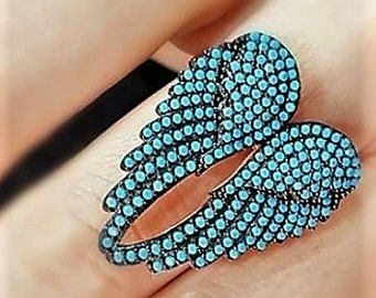 Turquoise Angel Wing Ring
