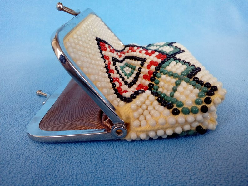 Retro Beads Coin Purse  Vintage Studded Purse  Old Metal Frame Purse  Boho Hippie Western Country Small Wallet  Geometric Design Purse