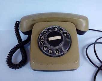 Vintage Olive Green Phone / Antique Rotary Telephone / Retro Dial Phone / Old Classic Desk Analogue Telephone / Shabby Chic / Pulse dialing
