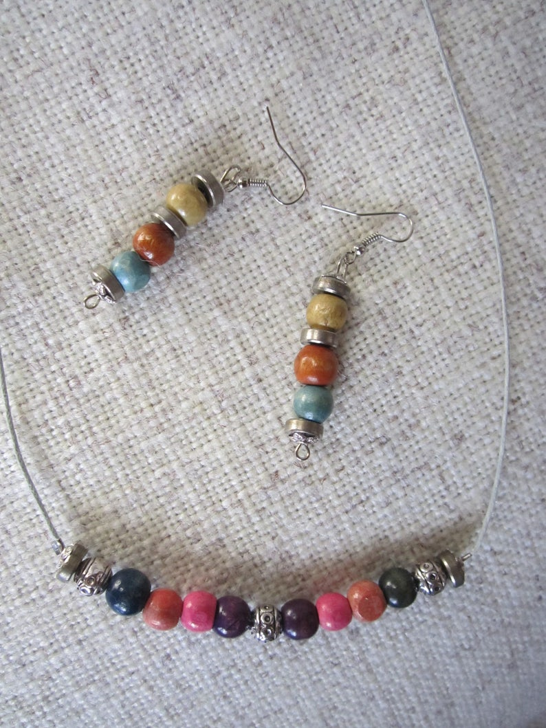 Colored Wood Beaded Jewelry Set  Rainbow Necklace And Earrings  Wooden Beads  Metal beads  Cotton string  Boho Style  Hippie Style