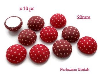 Set of 10 round cabochons in red and Burgundy 20x10mm fabric