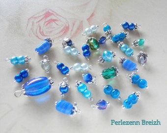 Assortment of 30 charms beads blue shades and silver handmade