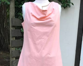Cowl Dress with Flaired Skirt and Ruffle in Peach Linen