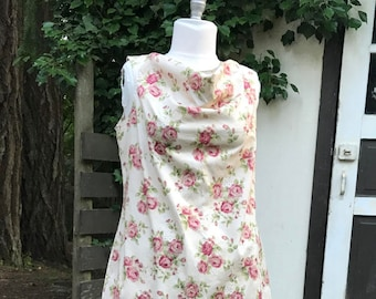 Cowl Dress with Straight Skirt in Ivory Rose Print Cotton