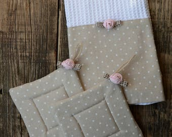Kitchen towel Set and shabby chic pot holders