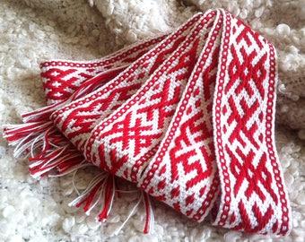 Man wedding belt ethnic belt folk belt woven sash slavic sash woven belt red slavic belt slavic costume ethnic sash folk belt country
