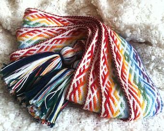 Woven sash, slavic belt, rainbow sash, reinbow belt, slavic sash, russian sash, russian belt, woven belt, amulet belt, knitted belt