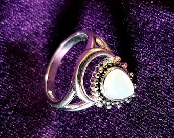 Crescent Opalite Gemstone Ring - Opalite stone crescent moon gothic witch jewellery