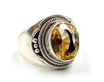 Sterling Silver Citrine Ring ( 925 )