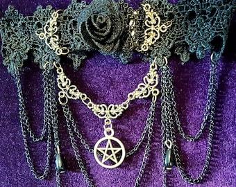 Victorian Black Rose Pentagram Choker