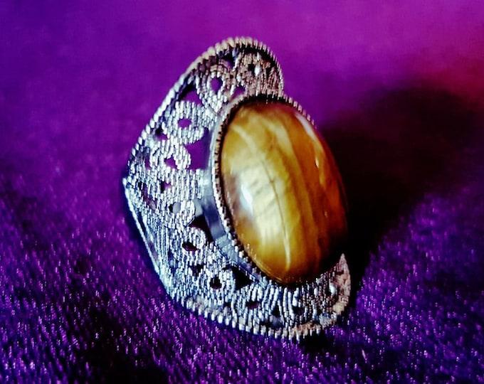 Tiger Eye Ring - spiritual gemstone jewel ring tigerseye tigereye stone ring gothic