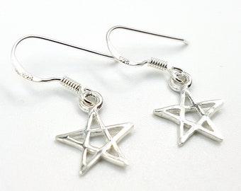Sterling Silver Pentagram Earrings (925)