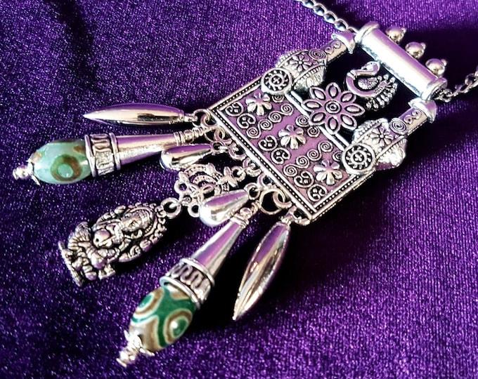 Prosperity Necklace - Ganesha Dzi Bead Neckpiece hindu fortune jewellery
