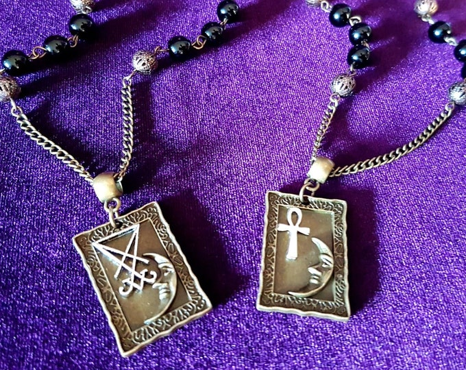 Lunar Frame Pendants | Ankh or Sigil of Lucifer - occult luciferian crescent moon egyptian life cross immortality ankh gothic necklace