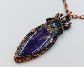 Electroformed Spider Pendant with Chaorite Crystal (Copper)