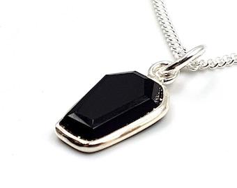 Sterling Silver Black Onyx Coffin Pendant (925)