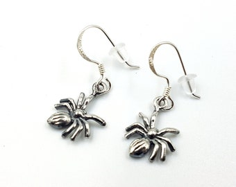 Sterling Silver Spider Earrings (925)