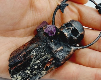 Raw Black Tourmaline Skull Necklace with Amethyst Crystals (Electroformed Copper)