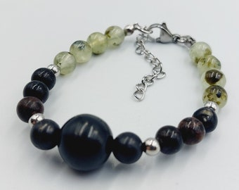 Protection Bracelet with Shungite, Biotite & Prehnite Crystals