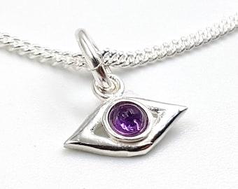 Mini Sterling Silver Evil Eye Protection Pendant 925 (Amethyst / Rainbow Moonstone)