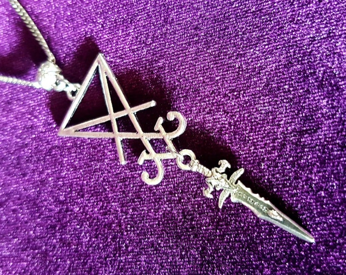 Sigil of Lucifer Athame Pendant - Sigil of lucifer occult gothic goth chain jewellery seal of lucifer