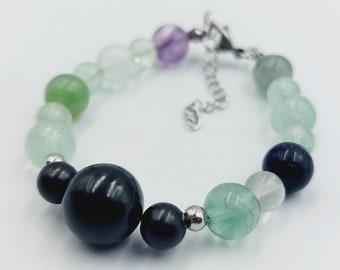 Rainbow Fluorite & Shungite Bracelet