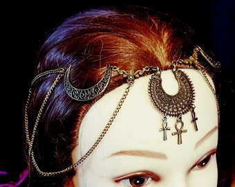 Egyptian Crescent Moon Tiara - egypt head jewellery occult gothic wing ankh