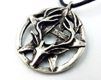 Wiccan Stag Pentagram Pendant