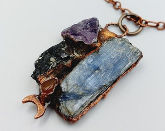 Electroformed Crystal Cluster Necklace with Aegerine, Amethyst, Kyanite & Carnelian (Copper)