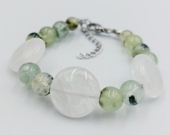 Crystal Bracelet with Prehnite & Crystal Mountain Quartz