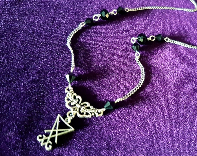 Traditional Mini Sigil of Lucifer Necklace - occult left hand path luciferian goth gothic