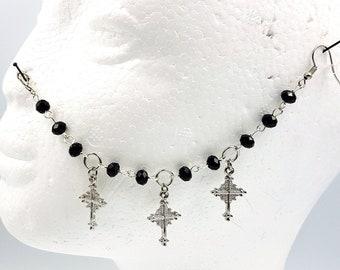 Triple Victorian Gothic Cross Nosechain