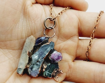 Electroformed Crystal Cluster Necklace with Lemurian Seedcrystal, Amethyst, Ruby & Moldavite (Copper)